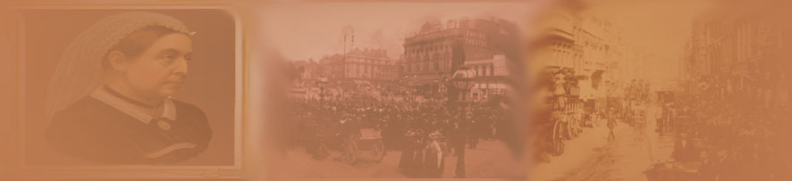 A background montage of Queen Victoria and the streets of London